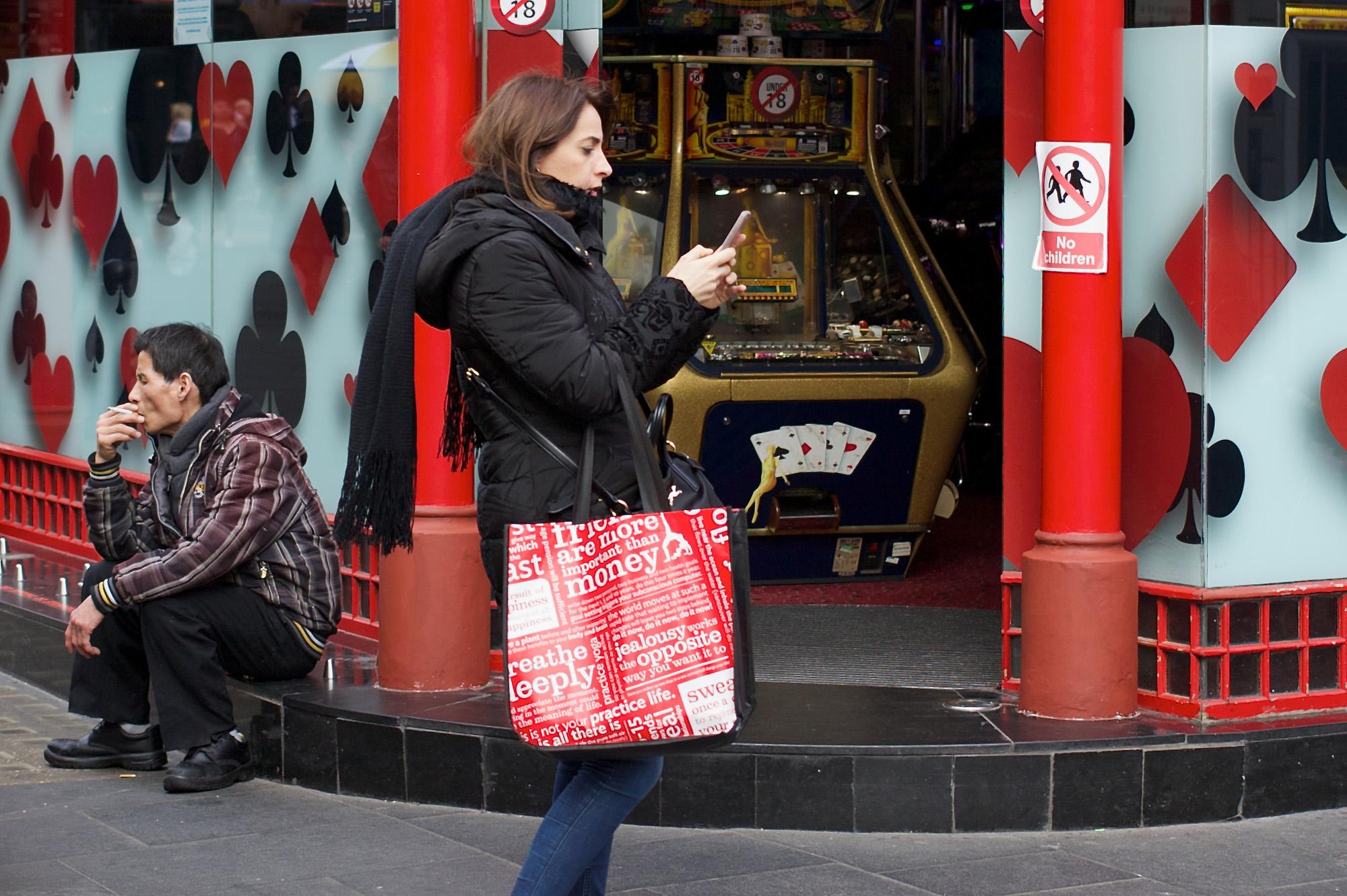 Woman pausing outside casino