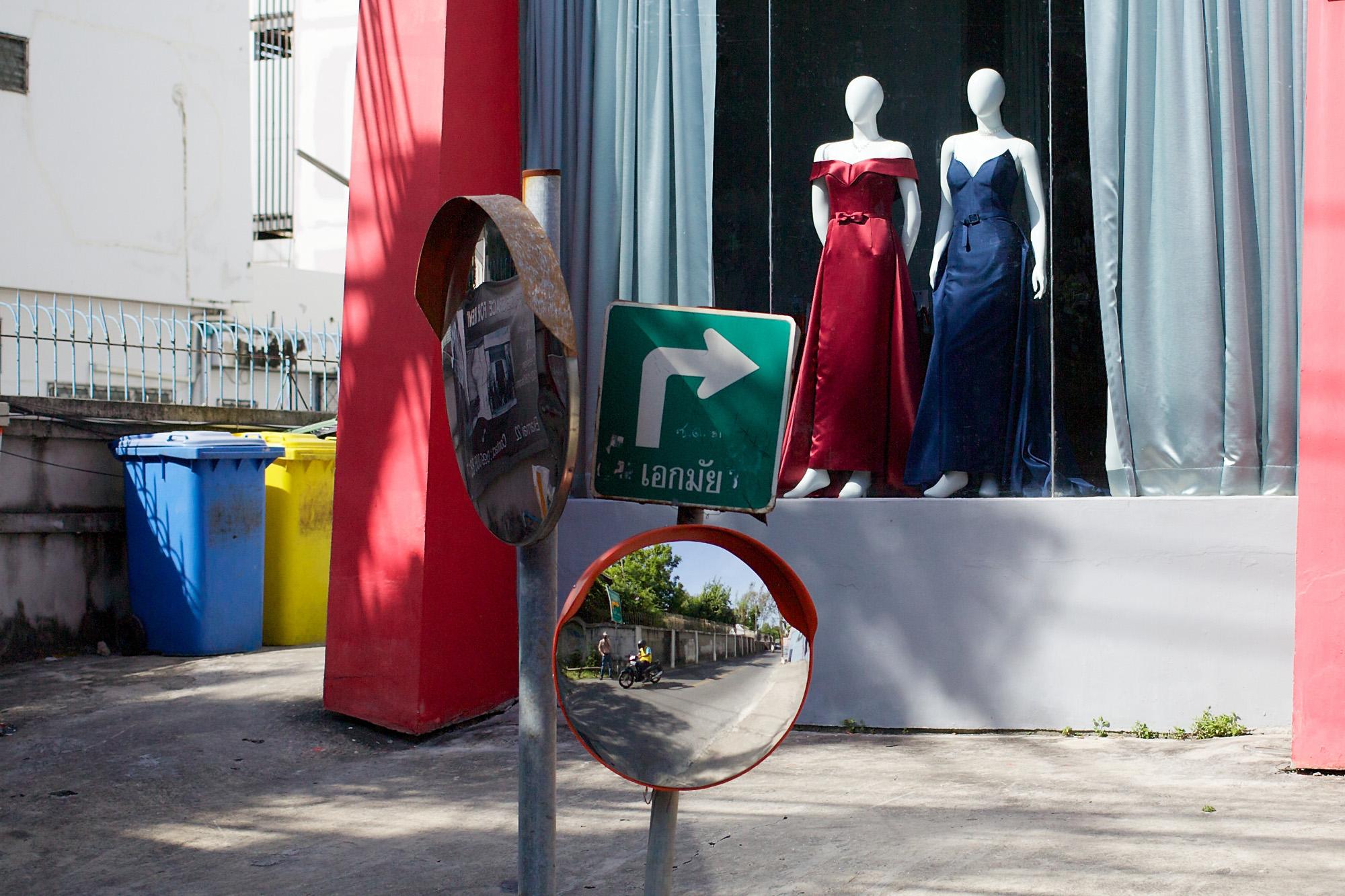 street corner with mirror