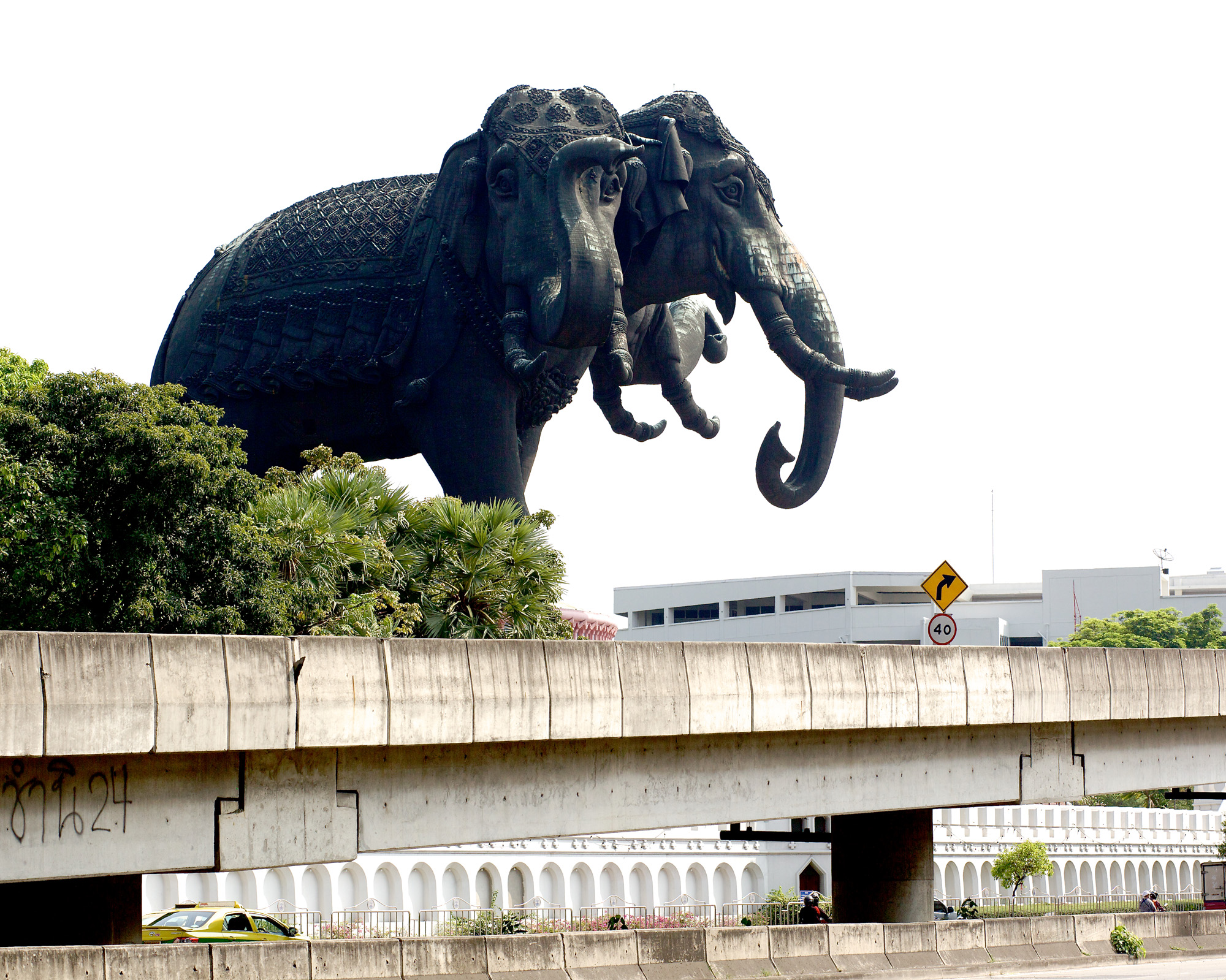 Three-headed elephant, from the road